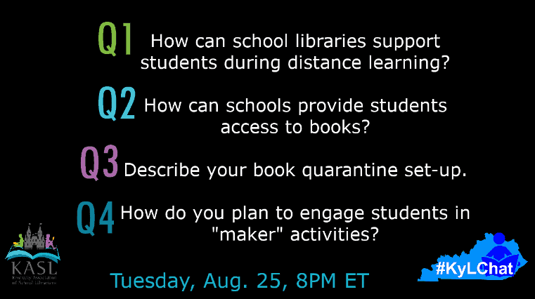 "1. How can school libraries support students during distance learning?  2. How can schools provide students access to books (both electronically and in-print)? 3. Describe your book quarantine set-up. 4. How do you plan to engage students in ""maker"" activities?"